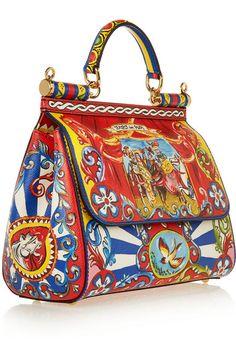 Dolce & Gabbana | Sicily medium printed textured-leather shoulder bag | NET-A-PORTER.COM