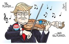 This caricature is showing humorous allusions. We see candidates Donald Trump playing a violin with that is a news reporter. It is showing satire for the words that the candidate has said.