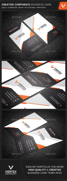 Creative Corporate Business Card - Creative #Business Cards Download Here: https://graphicriver.net/item/creative-corporate-business-card/20196933?ref=suz_562geid
