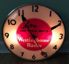 "Westinghouse Radio Antique Clock (Old 1950 Vintage Communications Advertising Telechron 15"" Lighted Round Sign)"