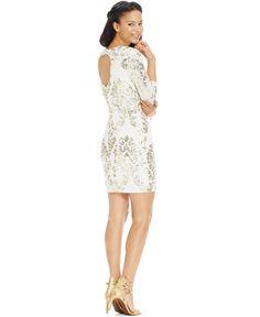 Bring the 24-karat bling at homecoming in B Darlin's cutout-back dress!