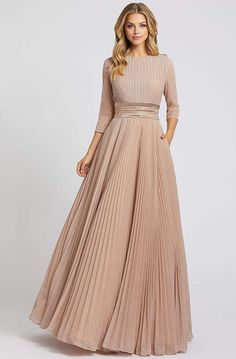 Formal Dresses With Sleeves, Maxi Dress With Sleeves, Pleated Dresses, Mismatched Bridesmaid Dresses, Online Dress Shopping, Shopping Sites, Celebrity Dresses, Celebrity Style, Beautiful Gowns
