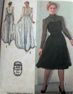 """1980s Gunne Sax Victorian Style Dress Pin Tucks lace overdress Steampunk sewing pattern Simplicity 9585 Size 10 Bust 32.5"""""""