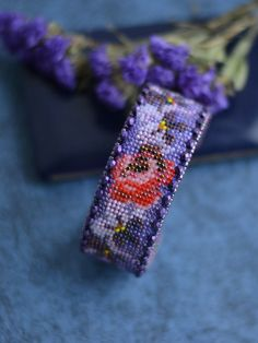 Bead embroidery bracelet Floral bracelet with violets and roses Beadwork flowers Vintage stile jewelry Вышивка бисером Вышитый браслет Браслет с розами и фиалками