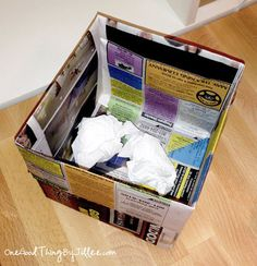 How To Make An Origami Trash Can Out Of Newspaper!One Good Thing by Jillee | One Good Thing by Jillee