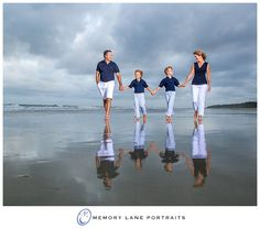 Why photographers never cancel for a potential storm... so stunning!! | White and Navy | Family of Four | Beach Portraits | HHI |