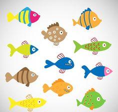 11 color cartoon fish vector graphics