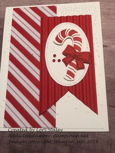 Stampin' Up! Candy Cane Season, Flocked paper and the Corrogated Embossing folder add a pow to this project Christmas Cards 2018, Christmas Card Crafts, Homemade Christmas Cards, Stampin Up Christmas, Christmas Candy, Xmas Cards, Christmas Themes, Christmas Stuff, Making Greeting Cards