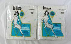 Vintage NIP Ladies Thermal Set Top & Pants Size Medium M White w/ Flowers Floral #Lollipop