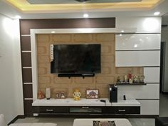 Modern, stylish, elegant, brown-white TV unit design by Aspire Interiors, Interior Designers & Decorators - Faridabad Delhi NCR