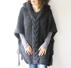 Dark Gray Plus Size Cable Knit Poncho with Hoodie by Afra от afra