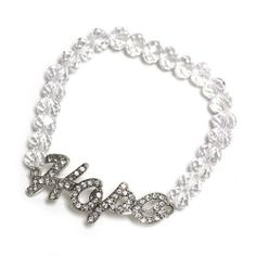 Rhinestone Hope Bracelet; Clear Faceted Beads; Silver With Clear Rhinestones; Stretch; Eileen's Collection. $16.99. Save 43% Off!