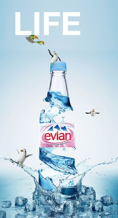 Evian - Life campaign face 01 & 02 by Jyo John Web Banner Design, Design Web, Graphic Design, Poster Ads, Advertising Poster, Advertising Campaign, Ads Creative, Creative Posters, Creative Design