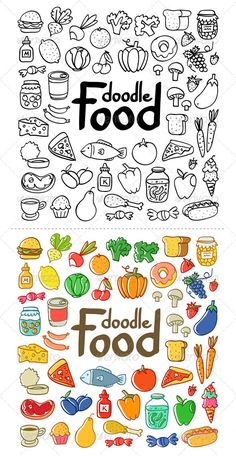 Food doodles for your Bullet journal. Easy doodles for beginners Simple Doodles, Cute Doodles, Tumblr Doodle, Doodle Drawings, Easy Drawings, Zentangle Drawings, Zentangle Patterns, Food Doodles, Doodle Icon