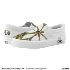 Christmas poinsetta pattern slip on shoe printed shoes