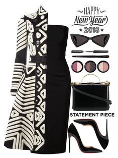 """""""black and white"""" by rastaress-motso ❤ liked on Polyvore featuring Victoria Beckham, Burberry, Christian Louboutin, Forever 21, Mark Cross, Bobbi Brown Cosmetics, Yves Saint Laurent, Cricut and statementcoats"""