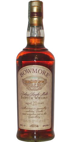 Bowmore 21 Years Old (Red Stripe): Waxy, Parma Violets, oily old baseball glove, shag carpet, currants, fine cigar smoke, buttered toast, pastries, euphoric. *****
