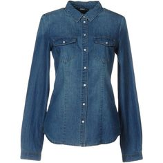 Only Denim Shirt (11.615 HUF) ❤ liked on Polyvore featuring tops, blue, snap button shirts, shirt top, blue long sleeve shirt, blue long sleeve top and long sleeve snap shirt