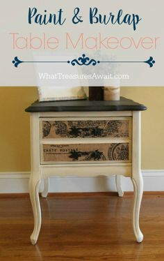 Side Table Makeover- Create this look with chalky paint and burlap fabric