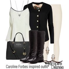 Caroline Forbes inspired outfit/TVD by tvdsarahmichele on Polyvore featuring Ted Baker, Marc Jacobs, Sole Society, MICHAEL Michael Kors and Sparkling Sage