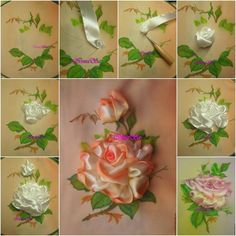 Pretty Embroidery Silk Ribbon Rose for wall art or table deor... Tutorial & video--> http://wonderfuldiy.com/wonderful-diy-pretty-embroidery-silk-ribbon-rose/