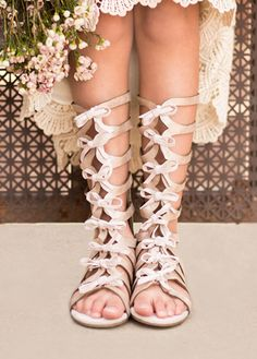 Girls Farrah in Metallic Blush Gladiator Boots Preorder Toddler 4 to Youth 6 Bohemian Boots, Bohemian Kids, Girls Fashion Clothes, Little Girl Fashion, Kids Fashion, Kids Clothing, Zapatos Bling Bling, Bling Shoes, Gladiator Boots