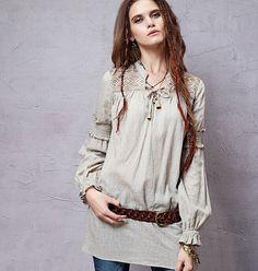 dafa0979b0c6 Langarmblusen - Retro gestickte lange Blusen - ein Designerstück von  fashionclothes bei DaWanda Blusen Für Frauen