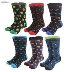 Men's Socks Peonfly 1pairs Funny Mens Colorful Combed Cotton Wedding Socks Wolf Fox Bomb Multi Set Dress Casual Crew Happy Socks Factory Direct Selling Price