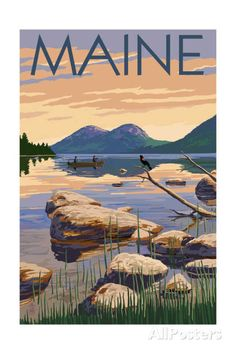 Moosehead Lake, Maine - Bears and Spring Flowers Prints by Lantern Press at AllPosters.com