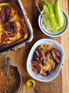 Toad-in-the-hole, onion & apple gravy -- Amazing crispy sausages & wonderful onion & apple gravy via Jamie Oliver (Jamie Oliver Recipes) Toad In The Hole, Onion Sauce, How To Cook Sausage, Comfort Food, Pork Recipes, Epicure Recipes, Chicken Recipes, Sausage Recipes, Cooking