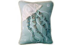3D Appliqué Indoor Cotton - Jellyfish Pillow - Seafoam. Texture abounds on this sea-inspired pillow! A 3D appliqué and pearly organza adorn the jellyfish. Seafoam cotton panels and a rope trim complete this pillow.