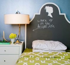 tween bedroom ideas with chalkboard painted headboard
