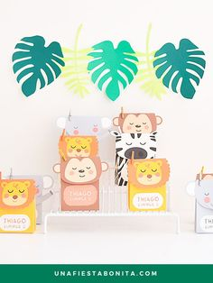Plantillas para imprimir cajitas, ideal para fiestas de cumpleaños, baby shower, primer añito, abutizo... #cajitasdepapel #cajitasparadulces #fiestaselva#fiestasafari#ideasfiesta#cumpleaños#imprimibles #animalitosdelaselva #jungleparty #junglebox #cajitaanimalitos #plantillacajita Bingo Baby Shower, Baby Shower Activities, Baby Shower Parties, Baby Shower Themes, Baby Shower Decorations, Baby Shower Invitations, Shower Party, Jungle Party, Safari Party