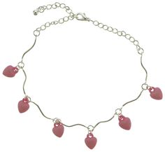 Silver-Tone Ankle Bracelet With Pink Heart Drop Shaped Charm Accents AN1466A-PNK