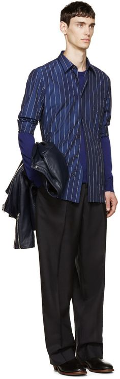 Maison Margiela Navy Pinstriped Shirt