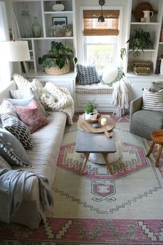 We chose this gorgeous eclectic family room area rug with touches of pink! Living Room Colors, Cozy Living Rooms, My Living Room, Living Room Interior, Living Room Designs, Living Room Decor, Bedroom Decor, Cottage Living Room Small, Cozy Family Rooms