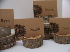 Rustic Wood Place Card Holders  Set of  50. $82.50, via Etsy.