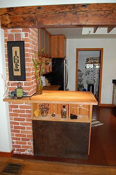 Exposed brick chimney kitchen ideas pinterest for Kitchen units made of bricks