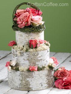 DIY Birch Wedding Cake Decor
