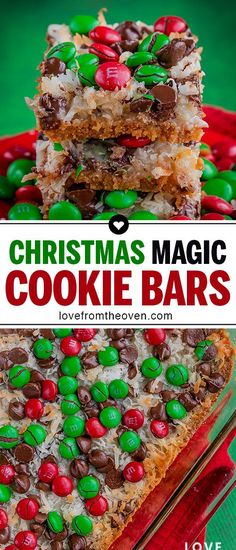 Christmas Magic Cookie Bars Dress up your 7 Layer Magic Cookie Bars for Christmas with the addition of some colorful M&Ms or other chocolate candies. Such a great Christmas Cookie, quick and easy to make! Easy Christmas Cookie Recipes, Best Christmas Cookies, Christmas Snacks, Xmas Cookies, Christmas Cooking, Holiday Desserts, Holiday Treats, Holiday Recipes, Christmas M&ms