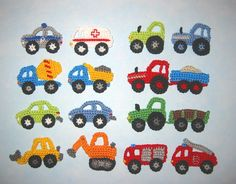 This Pin was discovered by Sha Scrap Yarn Crochet, Crochet Car, Wire Crochet, Crochet For Boys, Crochet Toys, Crochet Applique Patterns Free, Crochet Motifs, Baby Knitting Patterns, Crochet Appliques