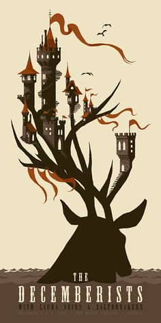 illustration, animal, deer, water, castle, silhouette, design, typography. decemberists01  chris Turnham