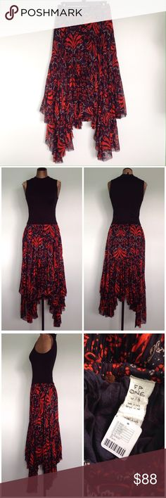 """Free people one Penelope skirt sz XS Free People skirt   *asymmetrical hem  *style is called """"one Penelope skirt"""" *sz XS  * *new with tags  *orange red black color  *breezy Midi skirt  *raw edge hem  *subtle pleating with a sweeping silhouette  *elastic waistband   *measurements: * * * * Free People Skirts Asymmetrical"""
