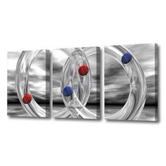 Menaul Fine Art 'Glass Rings and Spheres Triptych' by Scott J. Menaul 3 Piece Graphic Art on Wrapped Canvas Set Size:
