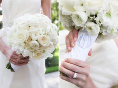 Gorgeous white bouquet- roses, ranunculus, and hydrangea! Photo by Kelly Brown, planning by Premier Planning Services, florals by Arts & Flowers