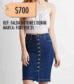 Falda botones denim-Forever 21 TALLA S