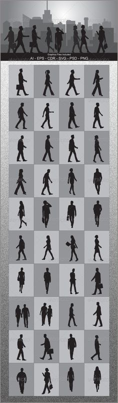People Walking Silhouettes #GraphicRiver Nice People Walking Silhouettes vector design.