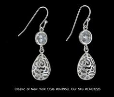 Gorgeous CZ Dangle Drop Earrings Sterling Silver Classics of NY D 3959 $56.00 | eBay http://www.ebay.com/itm/Gorgeous-CZ-Dangle-Drop-Earrings-Sterling-Silver-Classics-NY-D-3959-/271083124329?pt=Fashion_Jewelry=item3f1dd03669