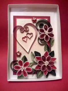 quilling birthday card valentines day card by valentiartshop enhanced embellishments pinterest quilling birthday cards quilling and white box