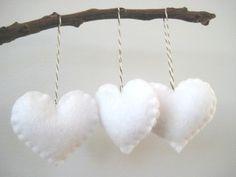White Heart Eco Felt Ornament - Handmade - Valentine's Day - Christmas Tree Ornament - Holiday Decoration. $12.50, via Etsy.